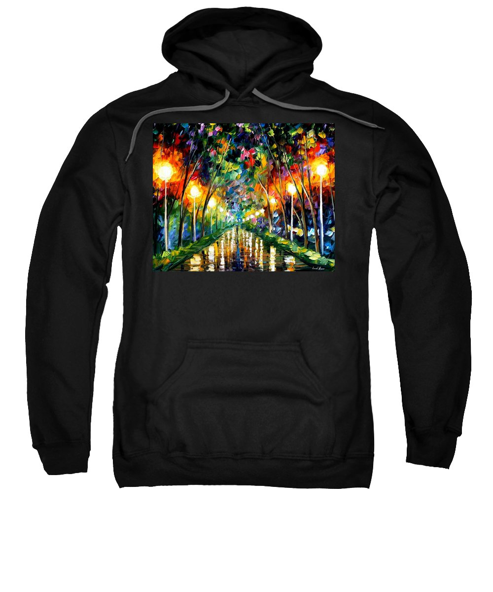 Afremov Sweatshirt featuring the painting Lights Of Hope by Leonid Afremov