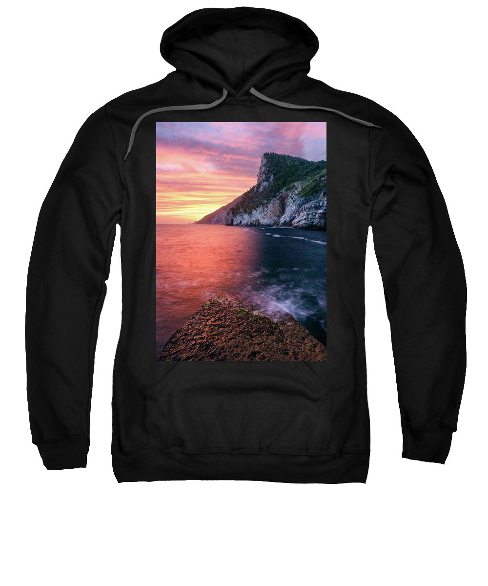 Europe Sweatshirt featuring the photograph Ligurian Sunset - Vertical by Michael Blanchette
