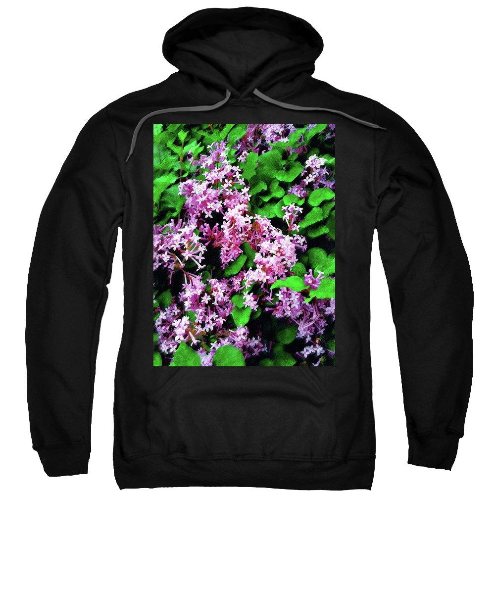 Floral Sweatshirt featuring the painting Lilacs In May by Sandy MacGowan