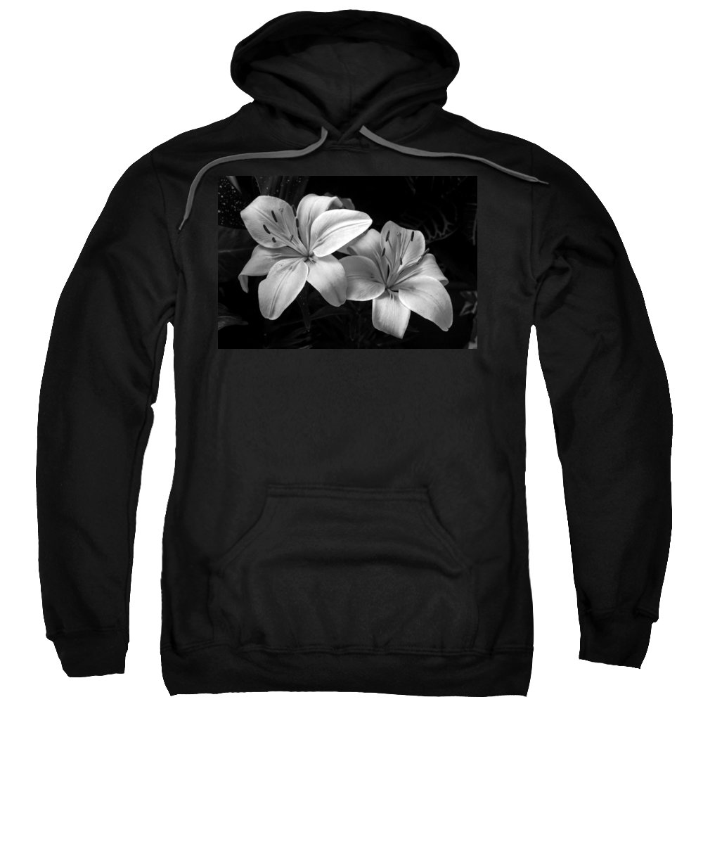Flowers Sweatshirt featuring the photograph Lilies In Black And White by Thomas Morris