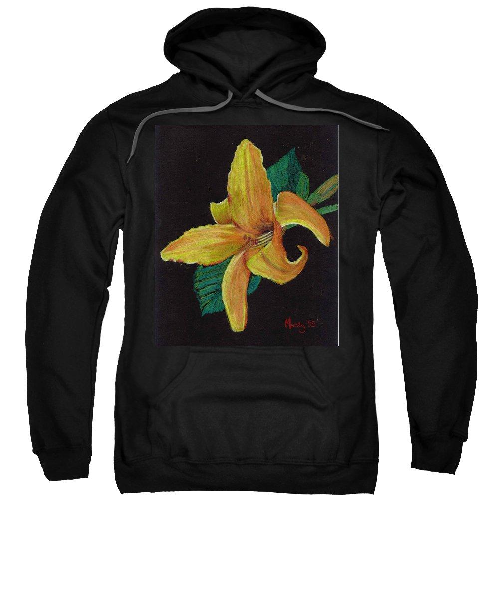 Flower Sweatshirt featuring the pastel Lily 1 by Mendy Pedersen