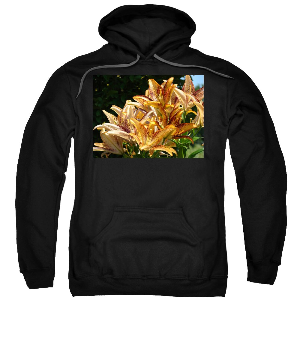 Lilies Sweatshirt featuring the photograph Lily Bouquet Orange Lily Flowers Botanical Landscape Baslee Troutman by Baslee Troutman