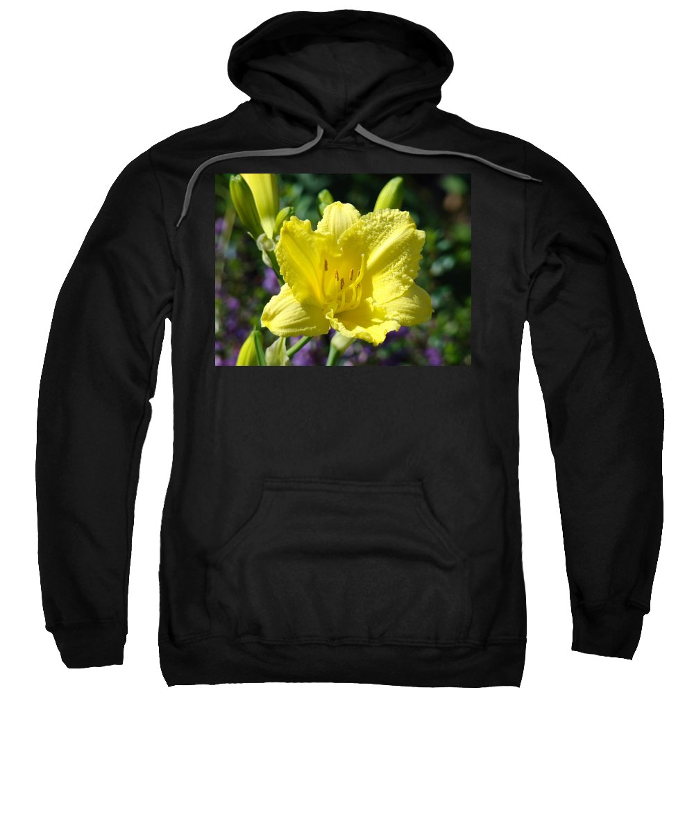 Lilies Sweatshirt featuring the photograph Lily Flower Art Print Canvas Yellow Lilies Baslee Troutman by Baslee Troutman