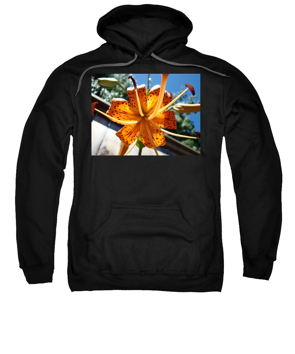 Lilies Sweatshirt featuring the photograph Lily Flower Artwork Orange Lilies 3 Giclee Art Prints Baslee Troutman by Baslee Troutman