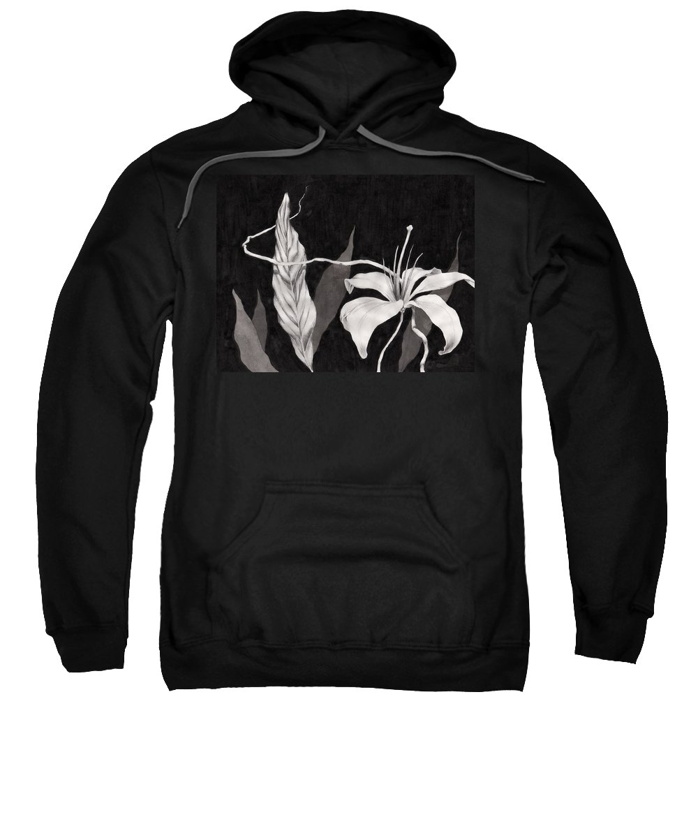 Ink Painting Sweatshirt featuring the drawing Lily In The Night by Jennifer McDuffie