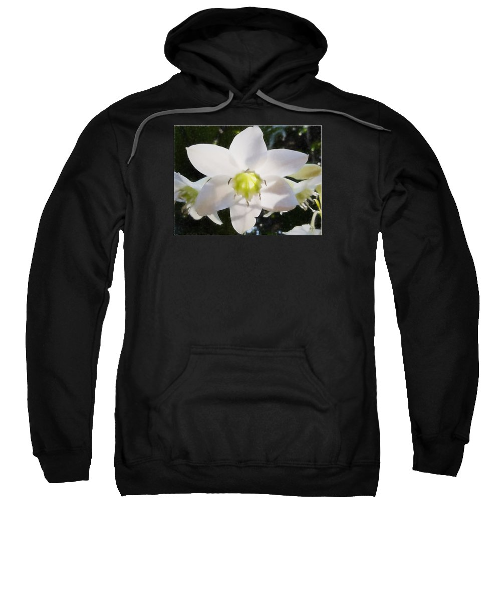 Floral Sweatshirt featuring the digital art Lily White by Edier C