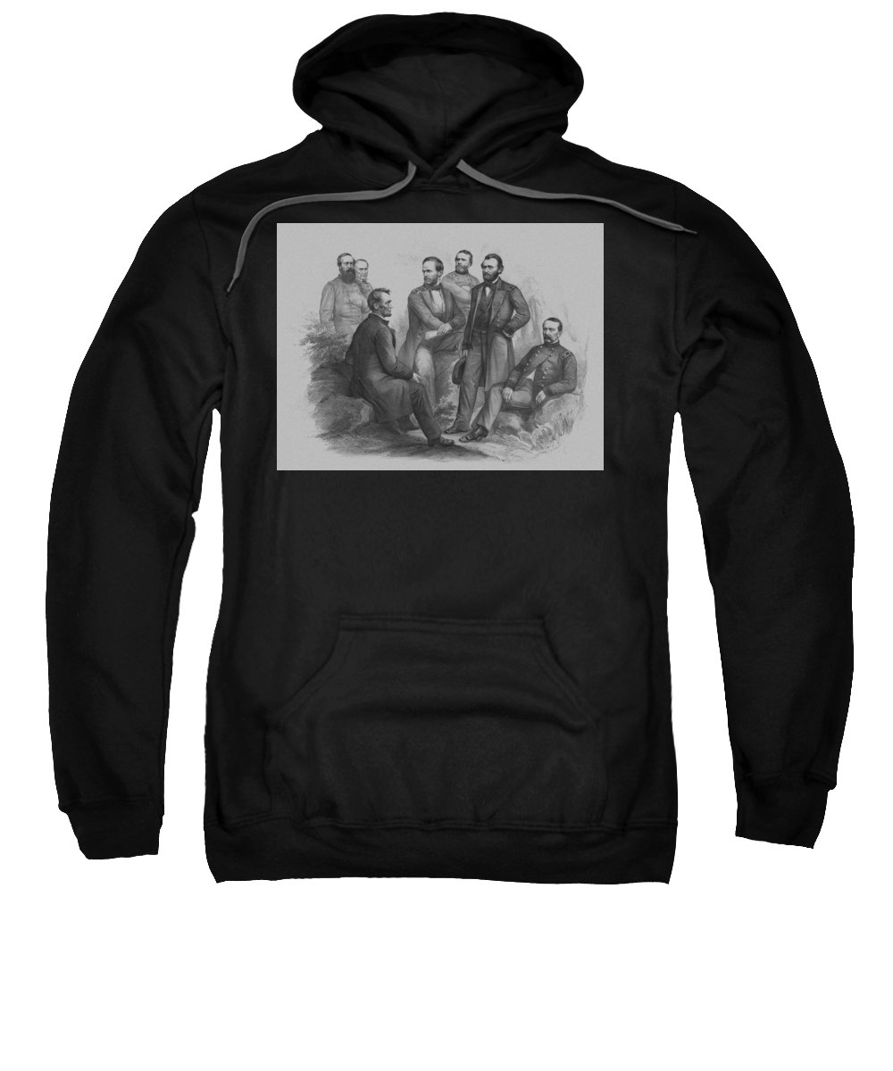 Civil War Sweatshirt featuring the drawing Lincoln And His Generals by War Is Hell Store