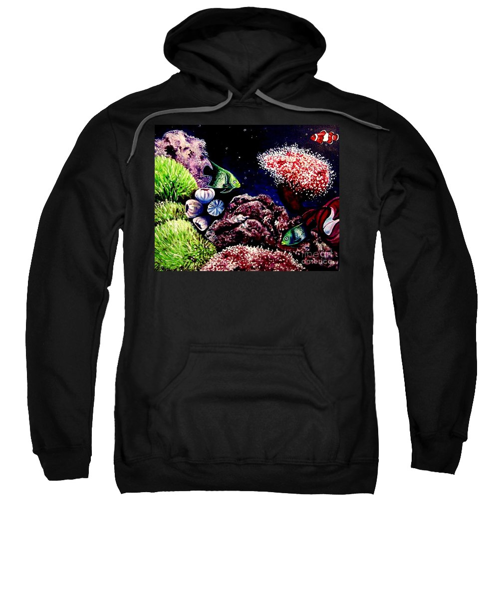Fish Sweatshirt featuring the painting Lindsay's Aquarium by Elizabeth Robinette Tyndall