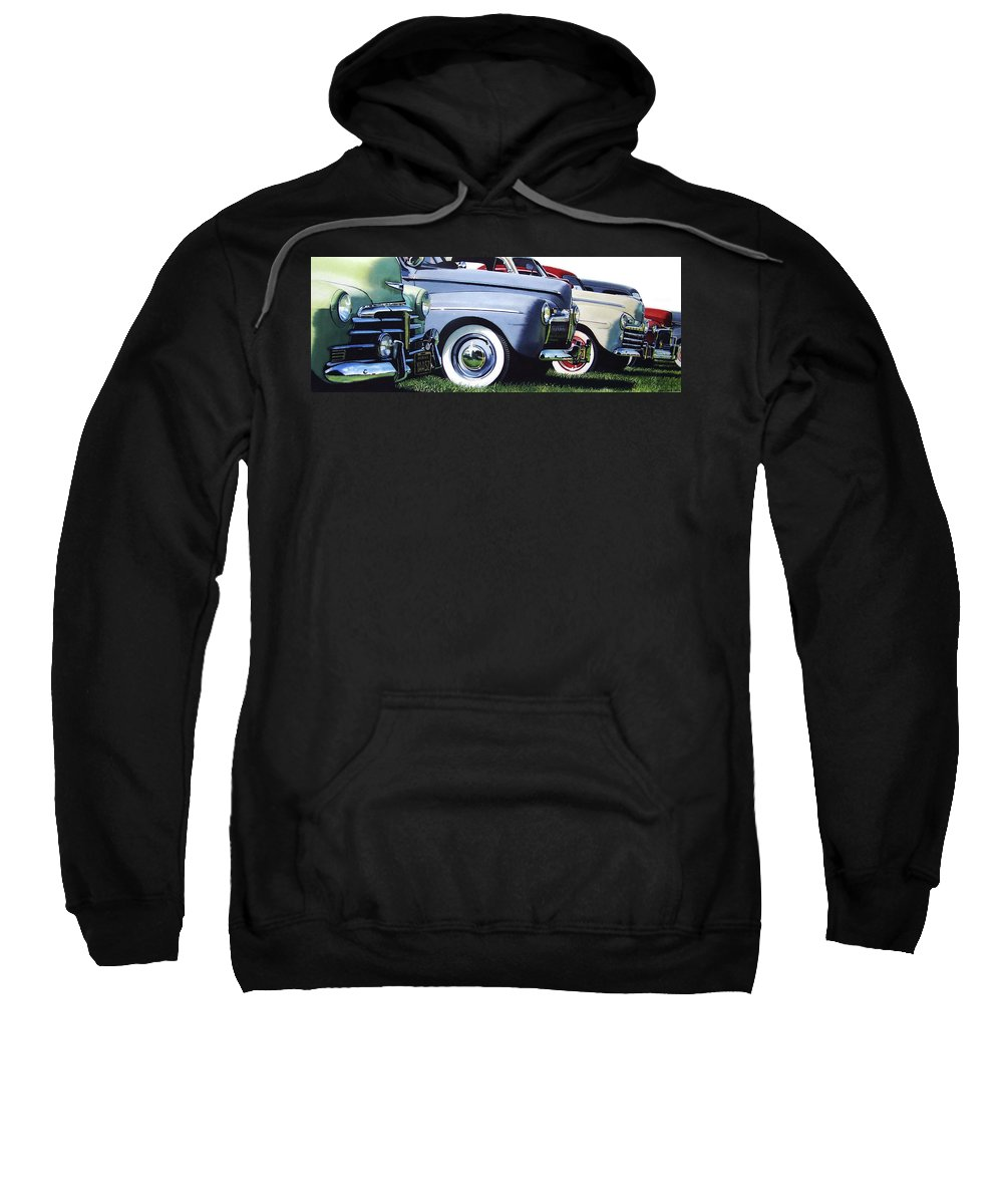 Antique Cars Sweatshirt featuring the painting Line Up by Denny Bond