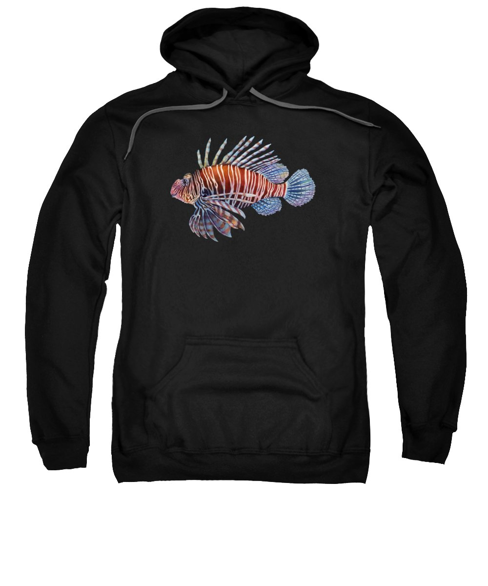 Lionfish Sweatshirt featuring the painting Lionfish In Black by Hailey E Herrera
