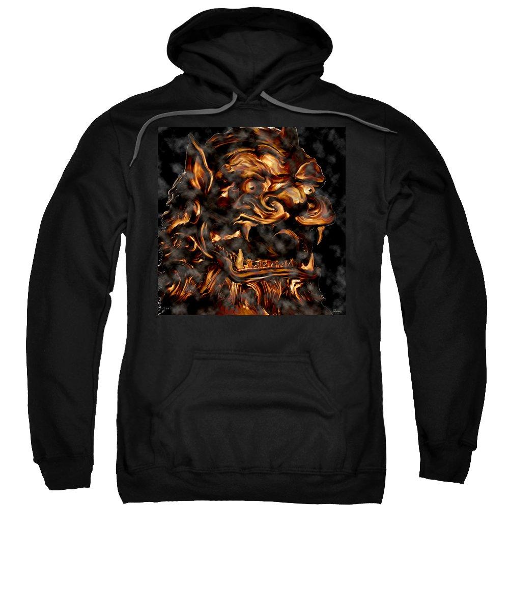 Leo Lion Goth Gothic Wild Emotion Feelings Animal Cloud Fierce Sweatshirt featuring the digital art Lions Roar by Andrea Lawrence
