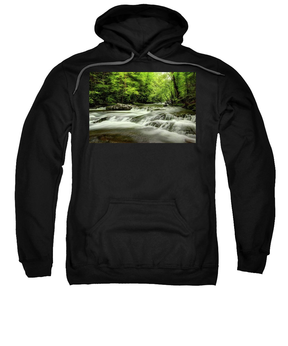 Tennessee Stream Sweatshirt featuring the photograph Listening To The Song Of The Stream by Mike Eingle