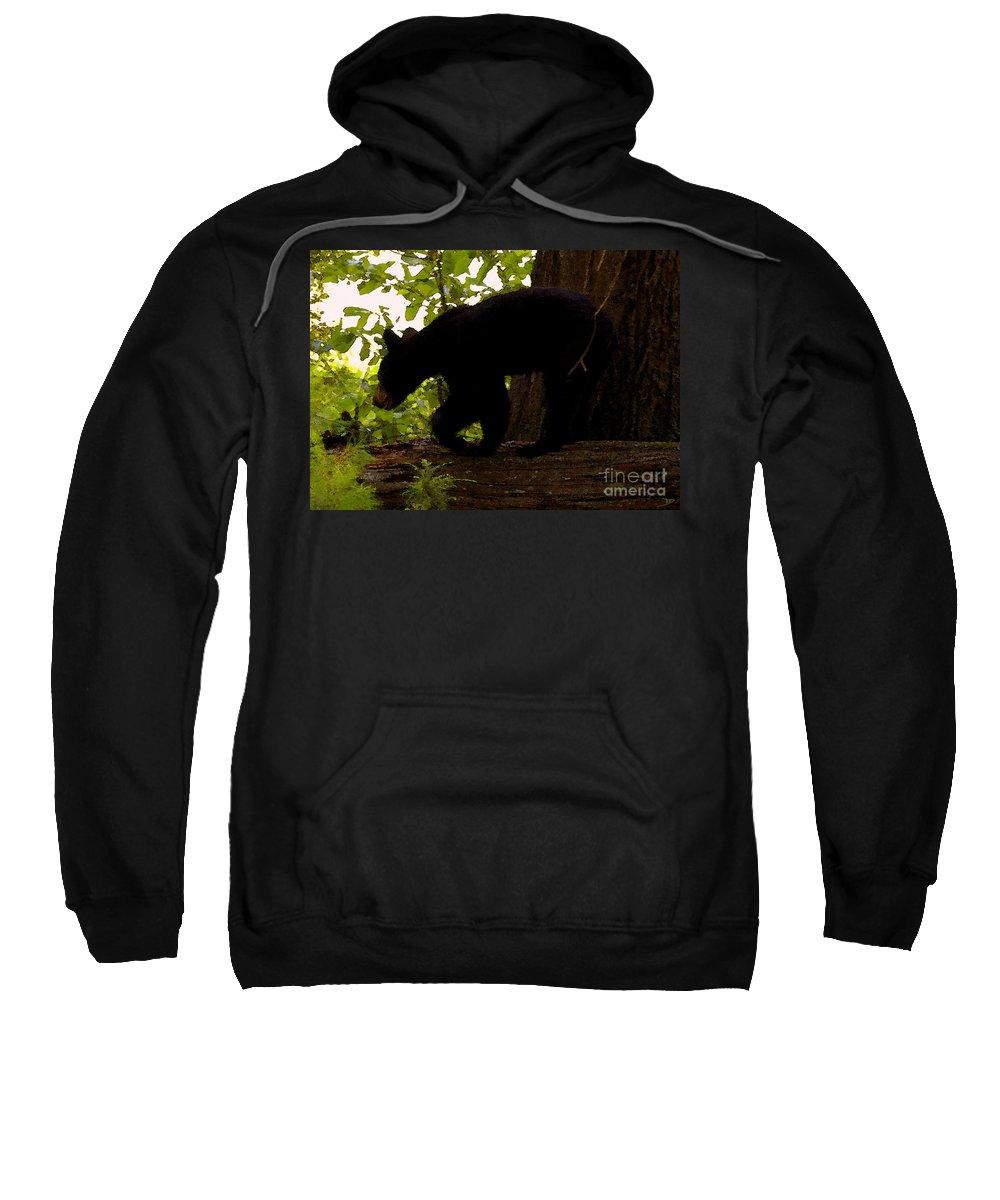 Black Bear Sweatshirt featuring the painting Little Black Bear by David Lee Thompson