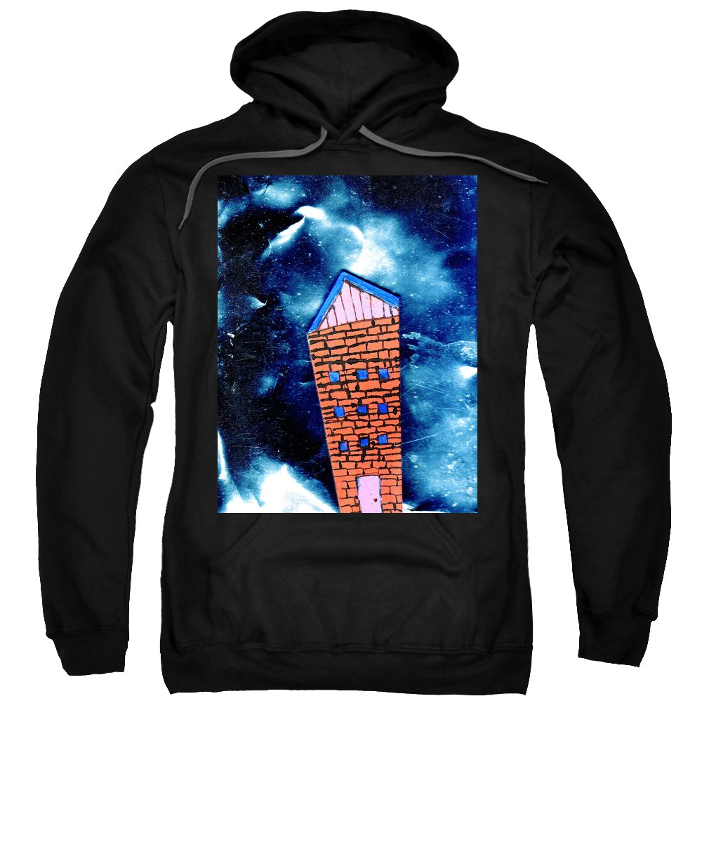 Mixed Media Sweatshirt featuring the painting Little House In The Cosmos by Wayne Potrafka