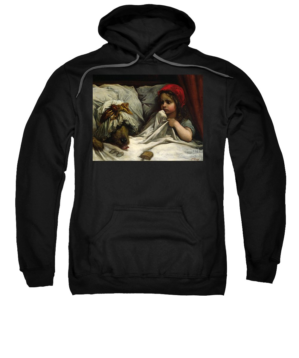 Wolf; Disguise; Child; Girl; Fairy Tale; Story; Glasses; Bed; Nightcap; Fear Sweatshirt featuring the painting Little Red Riding Hood by Gustave Dore