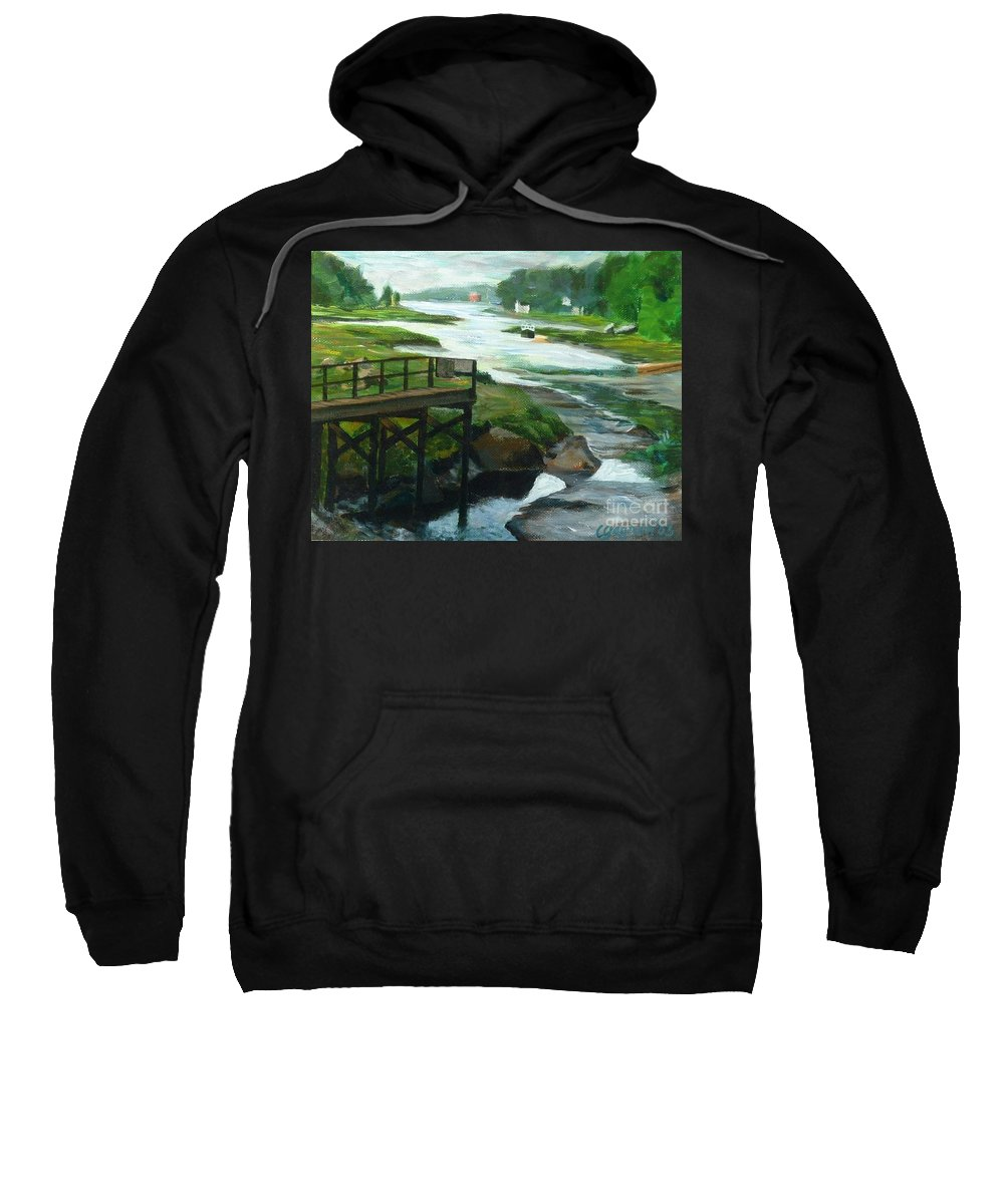 River Sweatshirt featuring the painting Little River Gloucester Study by Claire Gagnon