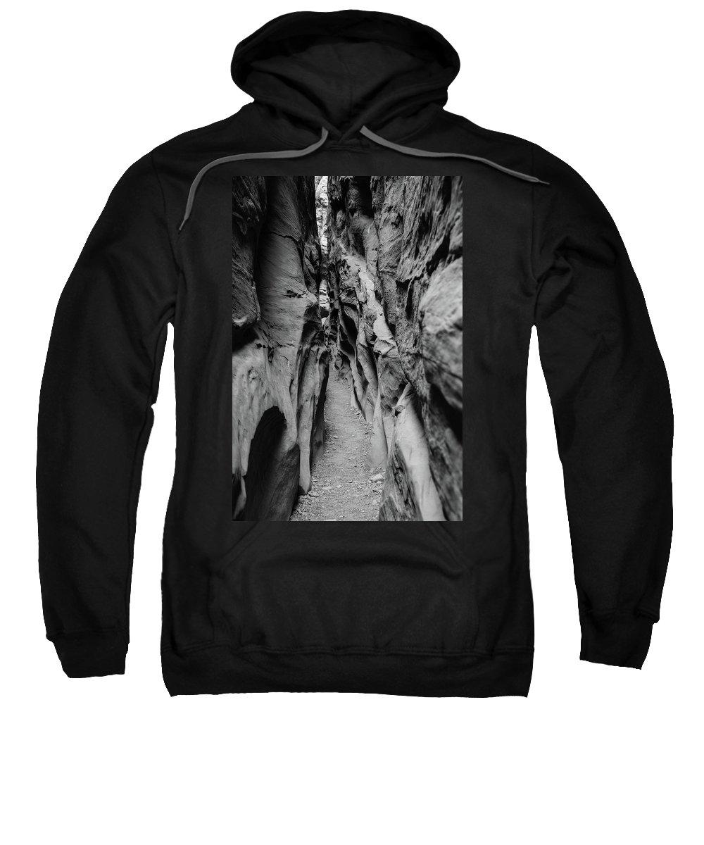 Little Sweatshirt featuring the photograph Little Wild Horse Canyon Bw by Jennifer Ancker