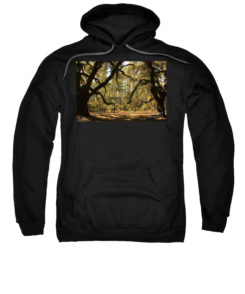 Savannah Sweatshirt featuring the photograph Live Oaks Silhouette by Carol Groenen