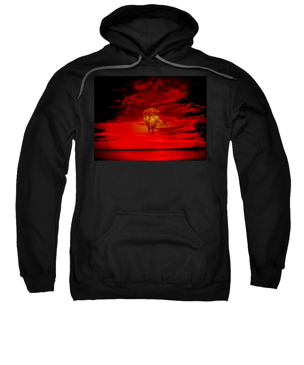 Skull Sky Red Dawn Buffalo Clouds Cloudy Nature Bison Water Skyline Waterscape Sweatshirt featuring the photograph Living Sky by Andrea Lawrence