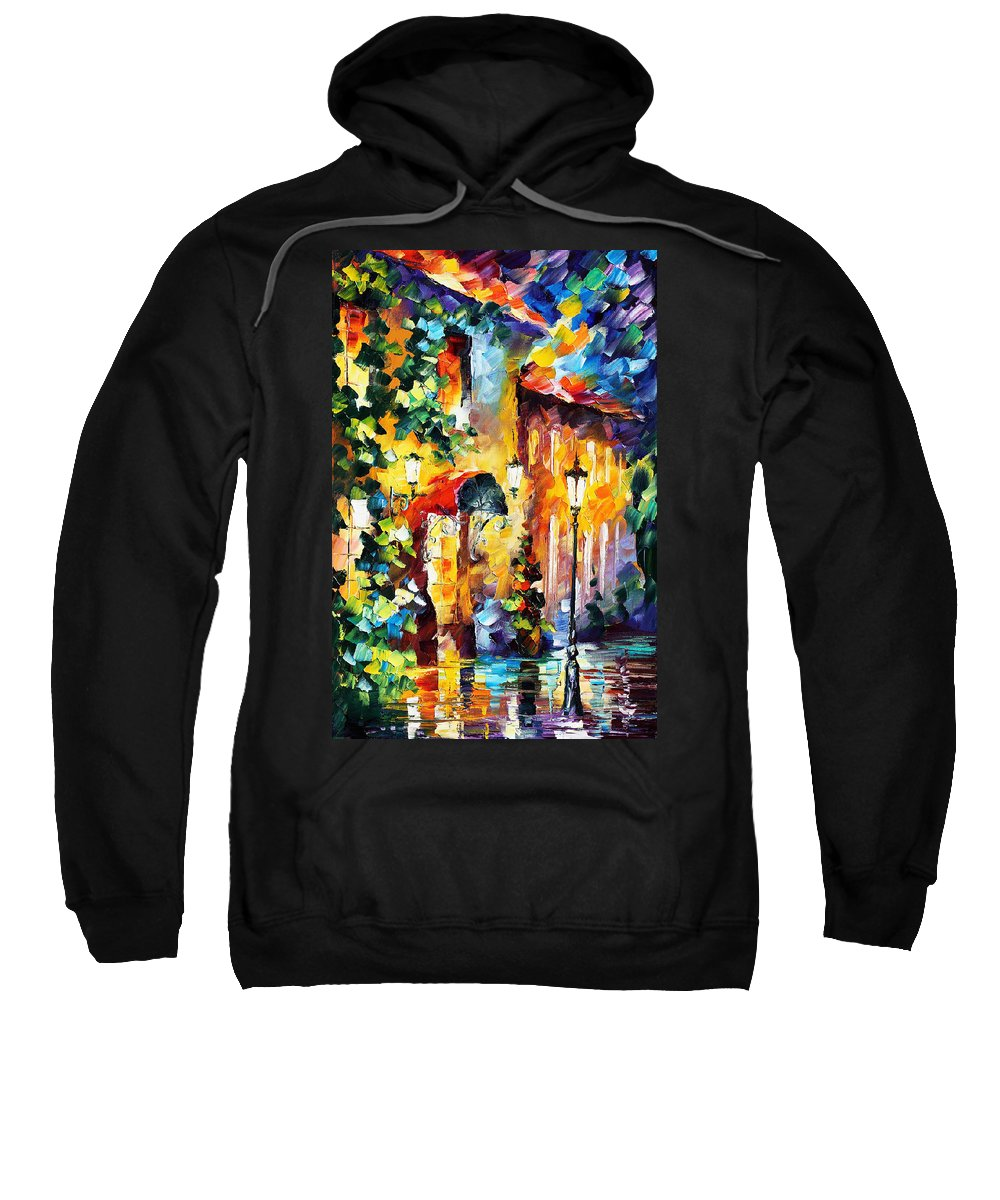 Afremov Sweatshirt featuring the painting Living Town by Leonid Afremov