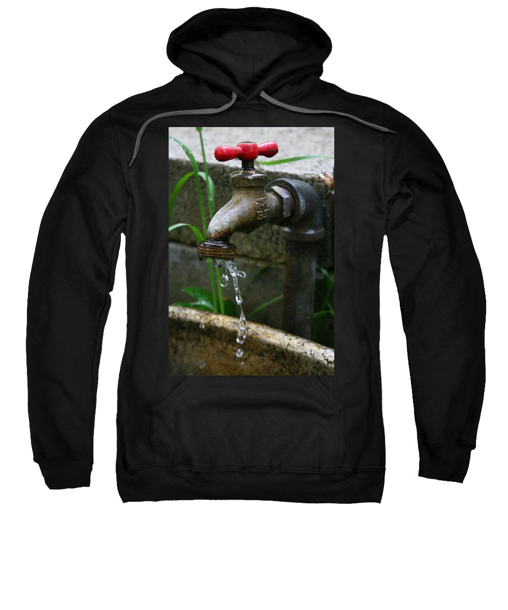 Water Faucet Valve Nature Garden Drop Dripping Red Wet Life Grow Nourish Rural Country Sweatshirt featuring the photograph Living Water by Andrei Shliakhau