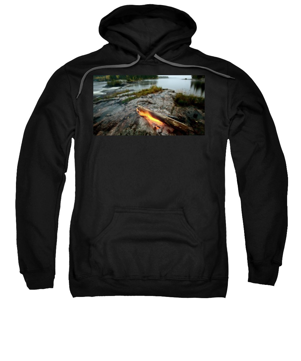 Manitoba Sweatshirt featuring the digital art Log On Fire Manitoba Lake Wilderness by Mark Duffy