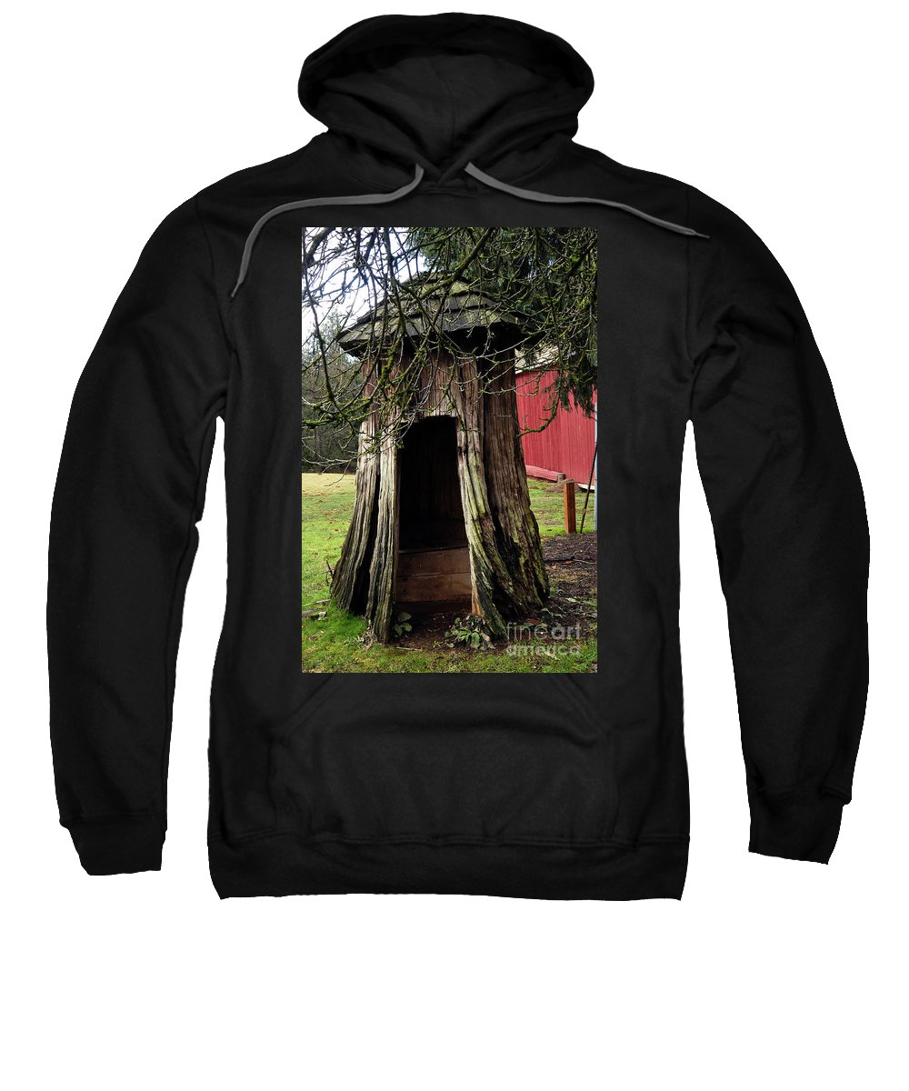 Clay Sweatshirt featuring the photograph Loggers Outhouse by Clayton Bruster