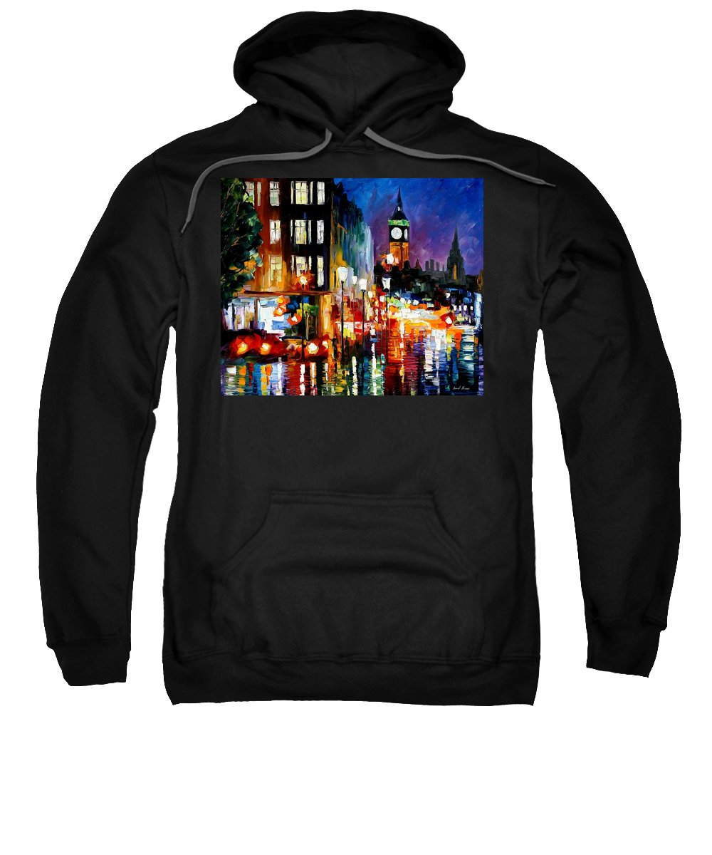 Afremov Sweatshirt featuring the painting London's Lights by Leonid Afremov