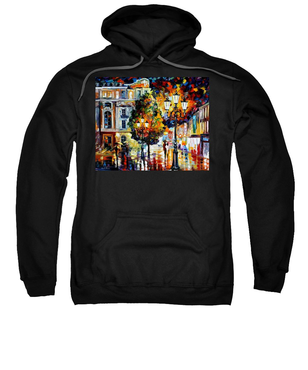 Afremov Sweatshirt featuring the painting Lonely Couples by Leonid Afremov