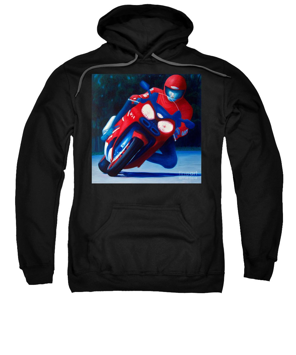 Motorcycle Sweatshirt featuring the painting Long Shadows - Kawasaki Zx6 by Brian Commerford