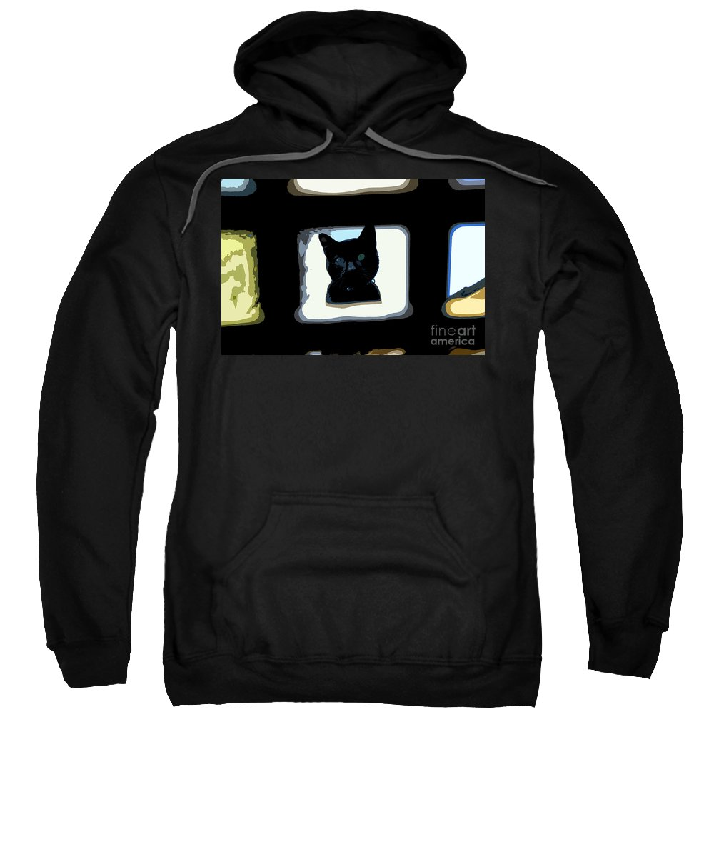 Black Cat Sweatshirt featuring the painting Looking by David Lee Thompson