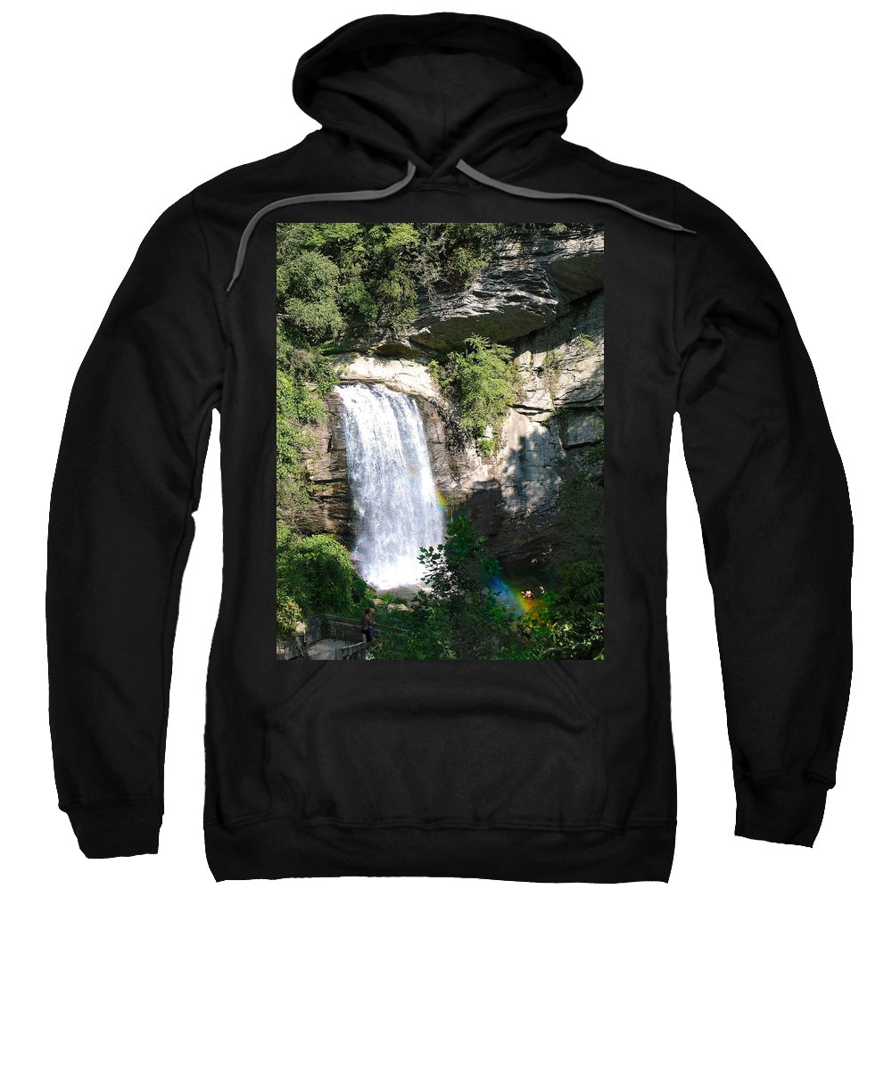 Landscape Sweatshirt featuring the photograph Looking Glass Falls Nc by Steve Karol