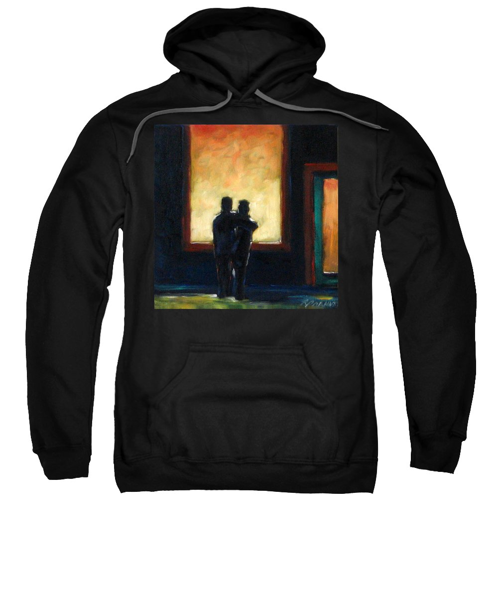 Town Sweatshirt featuring the painting Looking In Looking Out Mini by Richard T Pranke