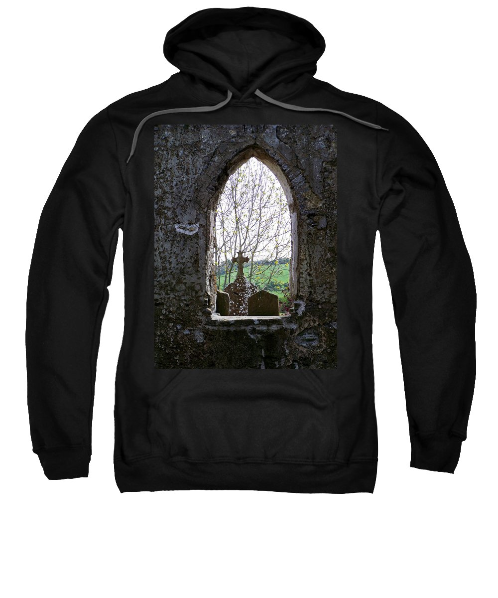 Ireland Sweatshirt featuring the photograph Looking Out Fuerty Church Roscommon Ireland by Teresa Mucha