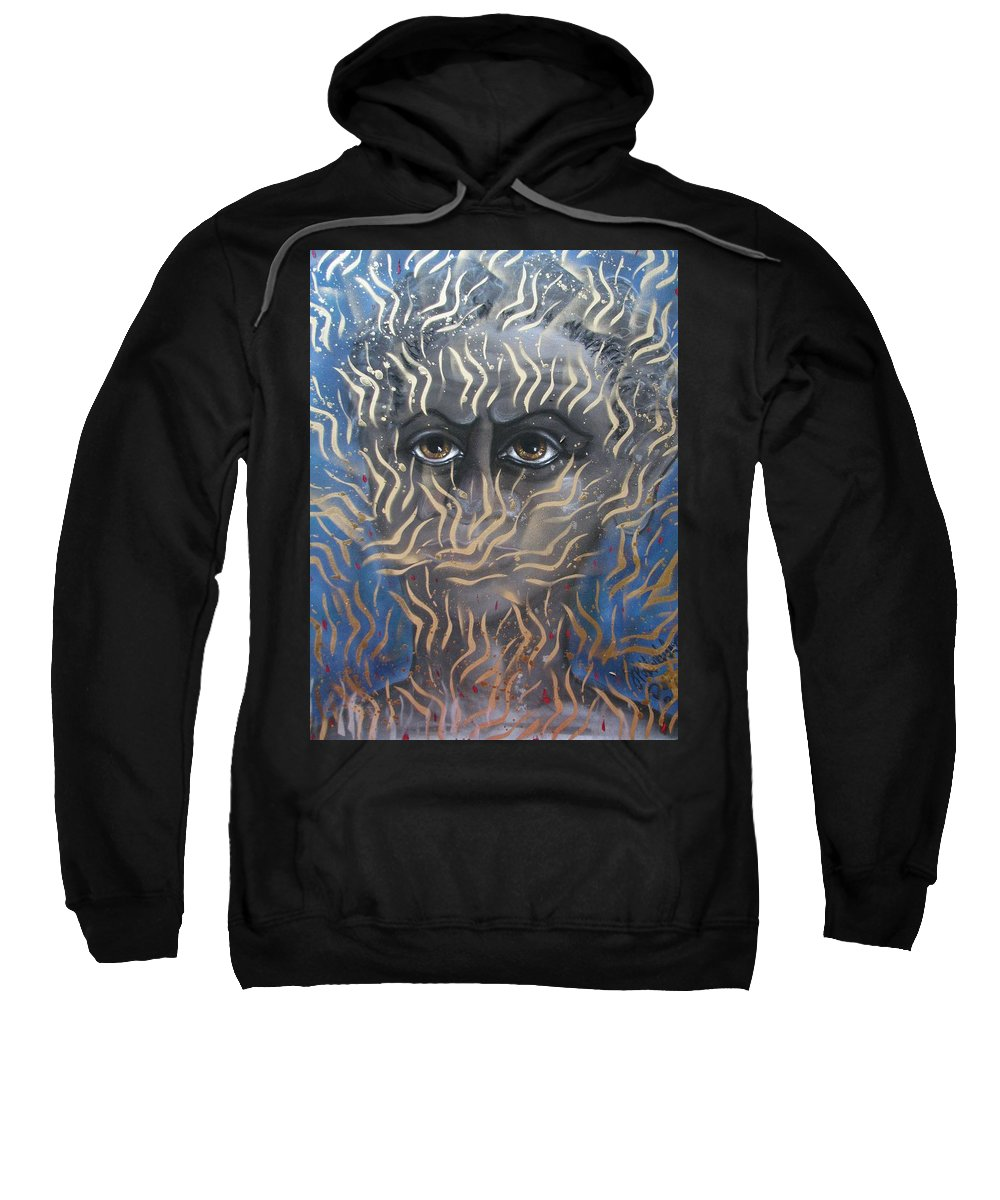 Man Sweatshirt featuring the painting Looking Through Fire by Joan Stratton