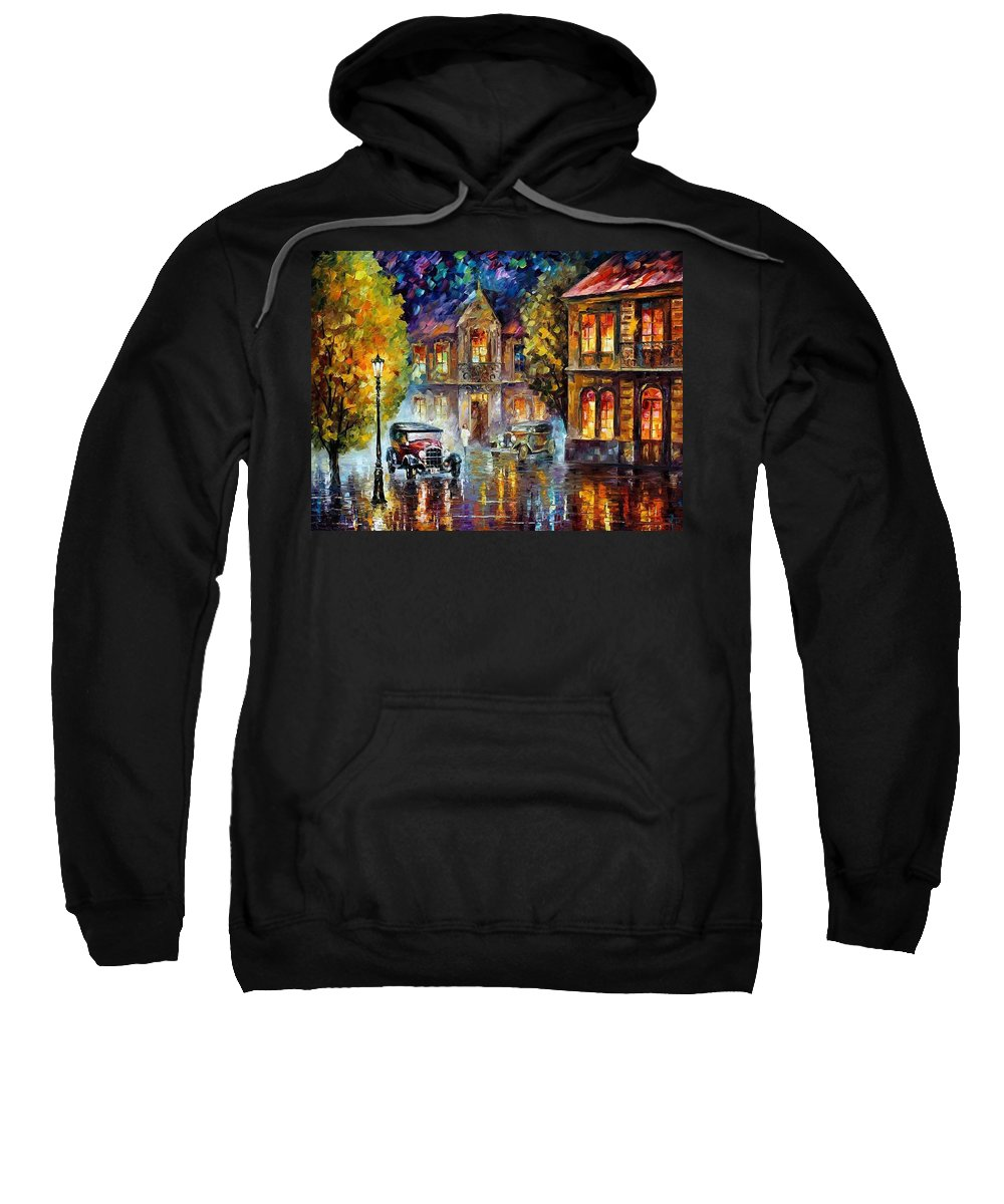 Afremov Sweatshirt featuring the painting Los Angeles 1930 by Leonid Afremov