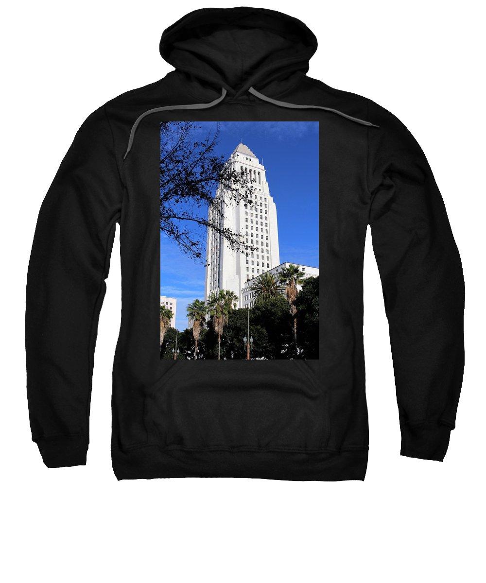 City Hall Sweatshirt featuring the photograph Los Angeles City Hall by Caroline Lomeli