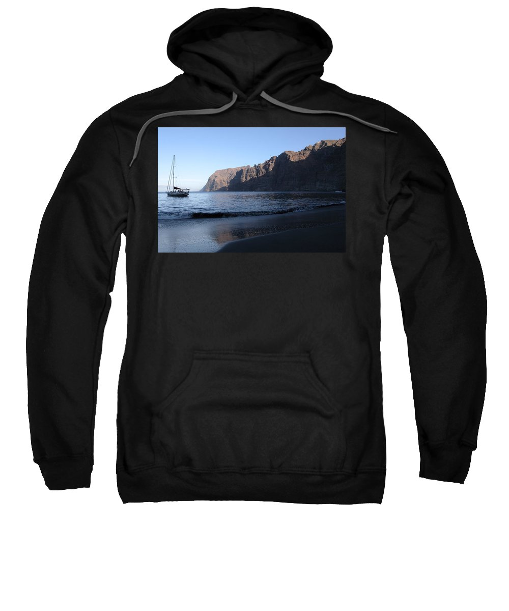 Seascape Sweatshirt featuring the photograph Los Gigantes Yacht by Phil Crean