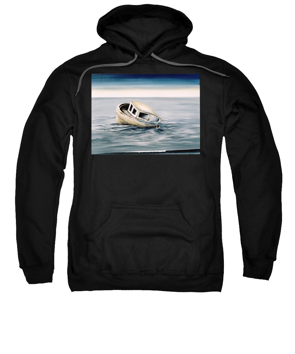 Seascape Sweatshirt featuring the painting Lost At Sea Contd by Mark Cawood