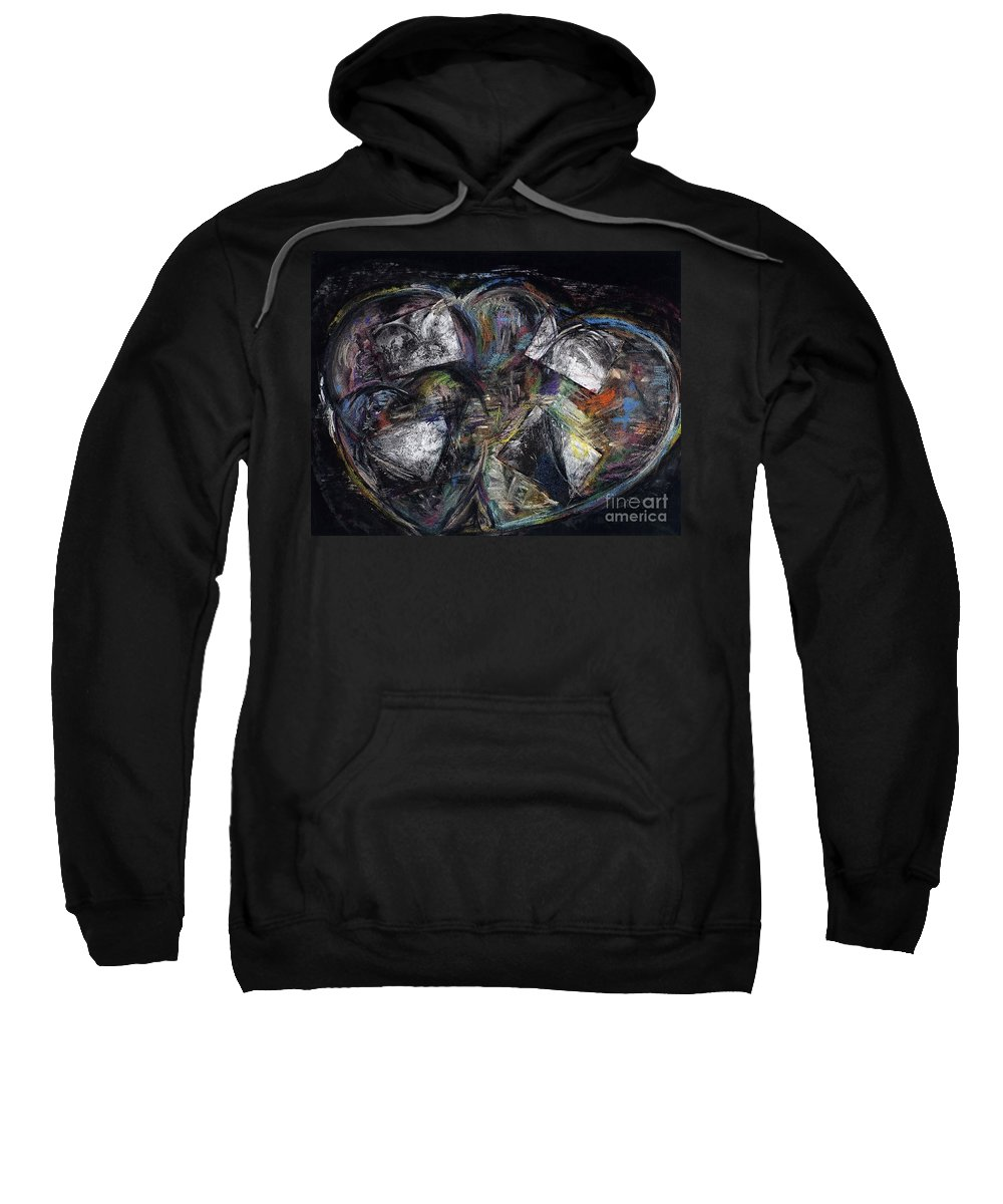 Abstract Heart Sweatshirt featuring the painting Lots Of Heart by Frances Marino