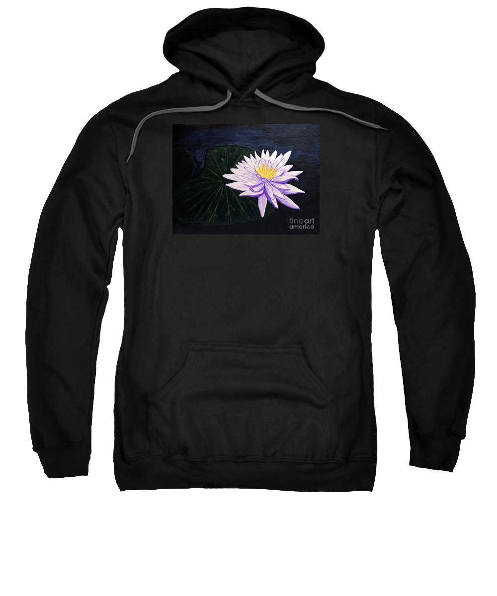 Original Painting Sweatshirt featuring the painting Lotus Blossom At Night by Patricia Griffin Brett