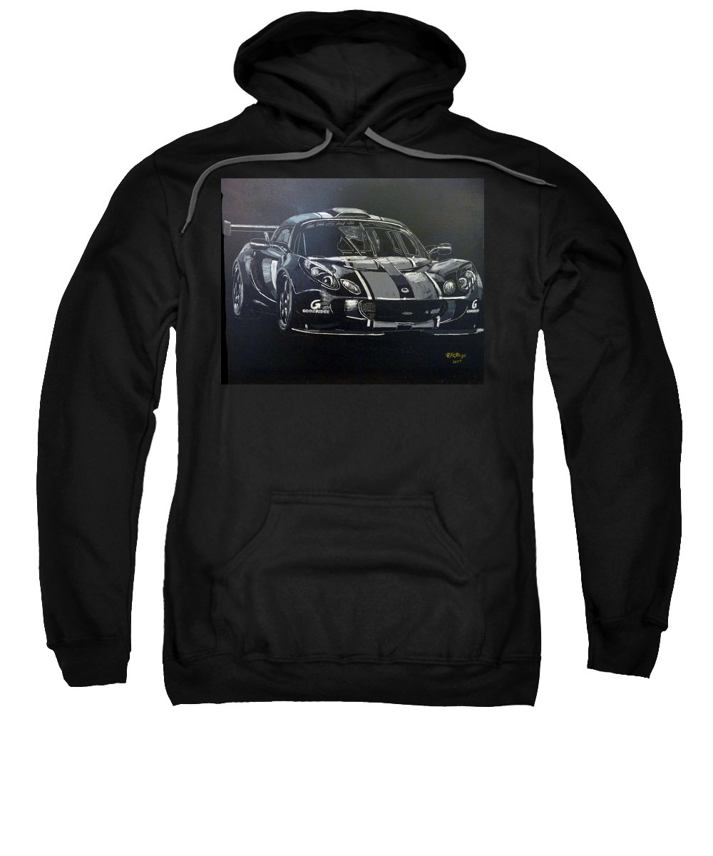 Lotus Exige Gt3 Sweatshirt featuring the painting Lotus Exige Gt3 by Richard Le Page