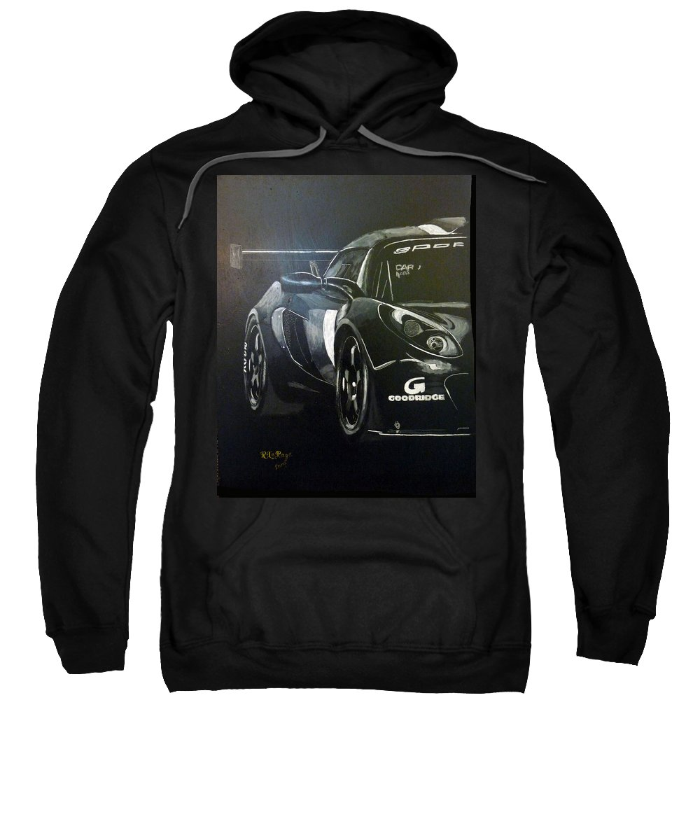Lotus Exige Gt3 Sweatshirt featuring the painting Lotus Exige Gt3 Side by Richard Le Page