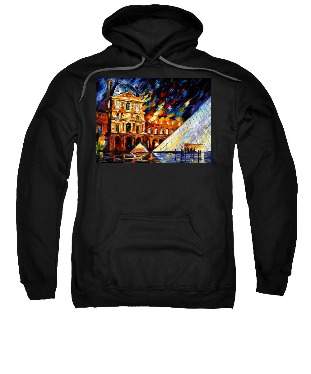 Afremov Sweatshirt featuring the painting Louvre Museum by Leonid Afremov