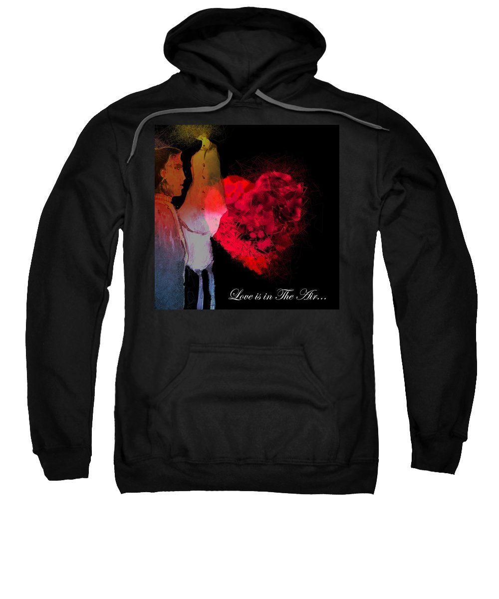 Love Sweatshirt featuring the painting Love Is In The Air by Miki De Goodaboom