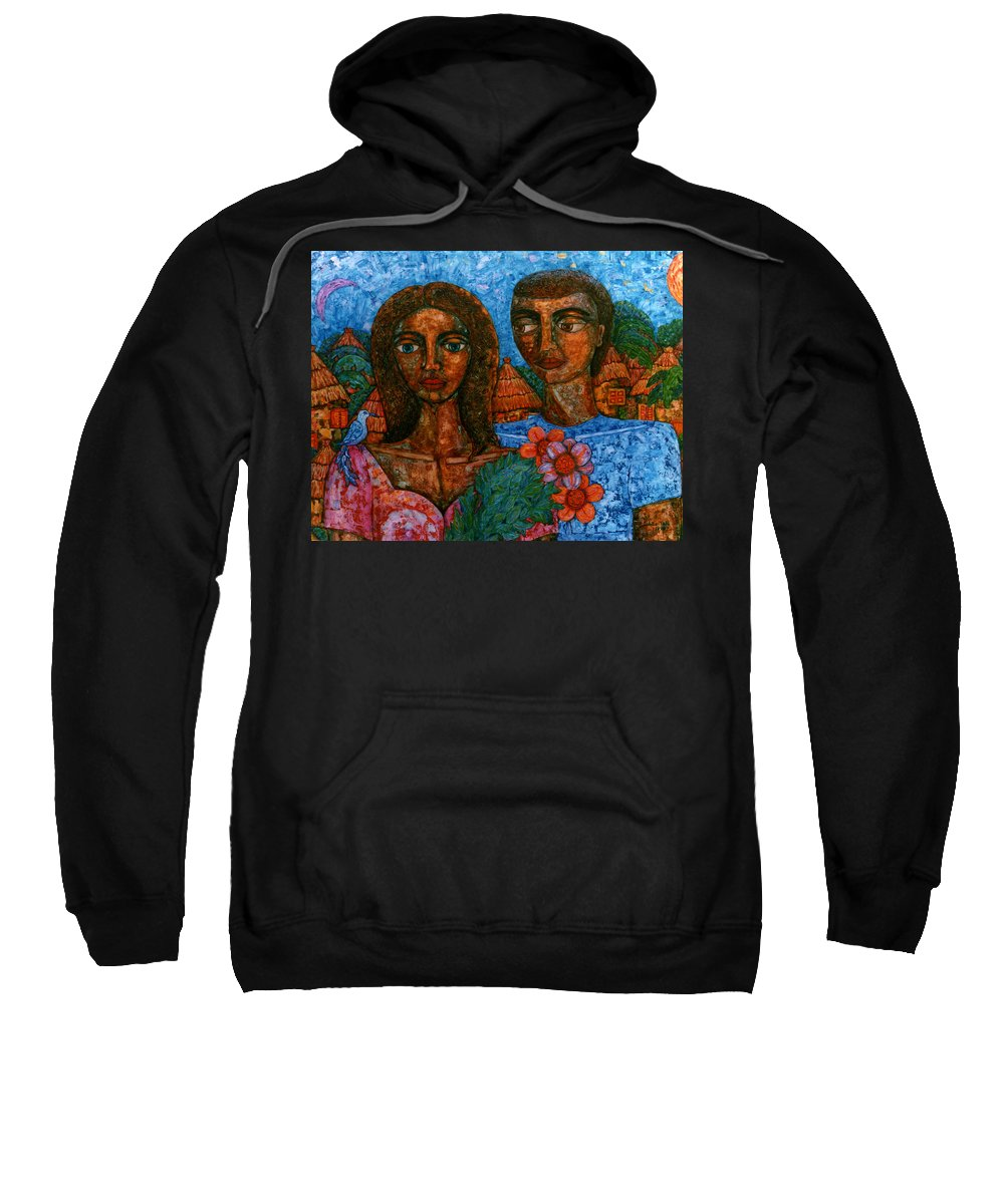 Love Sweatshirt featuring the painting Love Is Like A Bird by Madalena Lobao-Tello