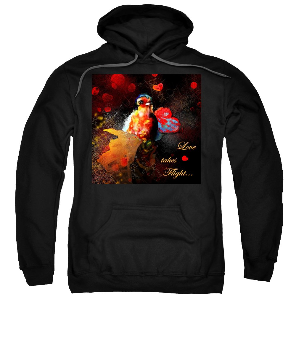 Love Sweatshirt featuring the painting Love Takes Flight by Miki De Goodaboom