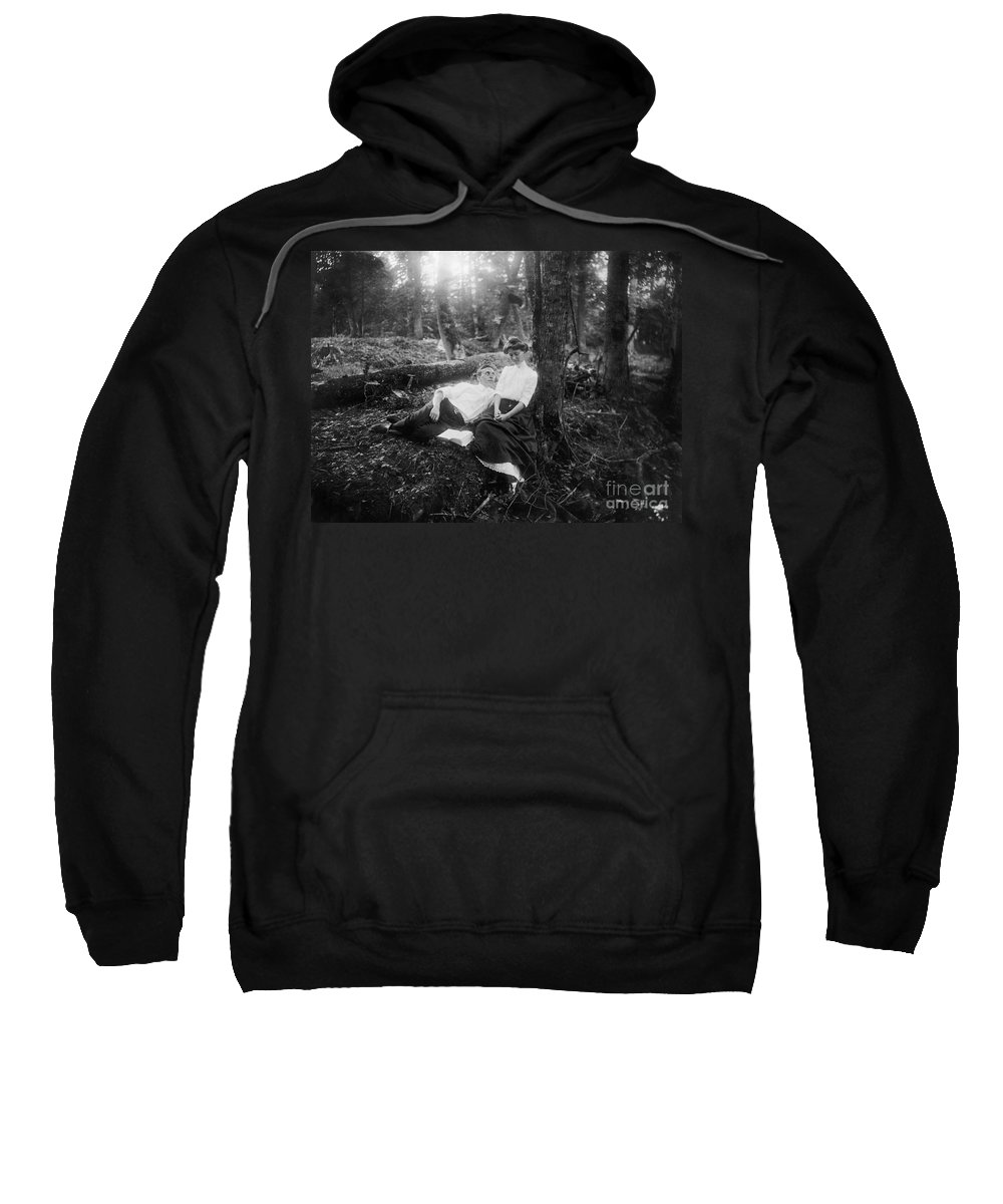 1900 Sweatshirt featuring the photograph Lovers, C1900 by Granger