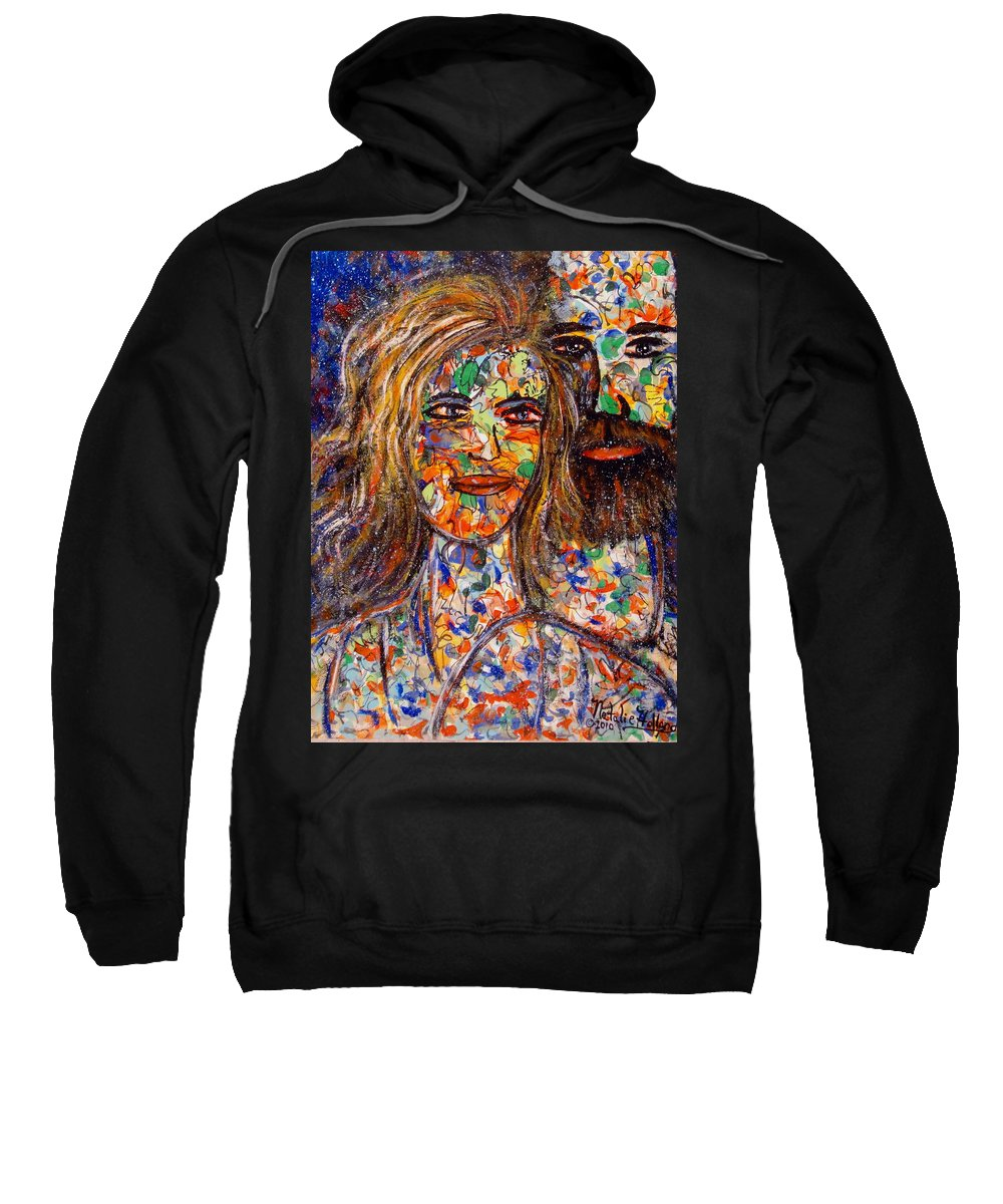 Close Couple Sweatshirt featuring the painting Loving Couple by Natalie Holland