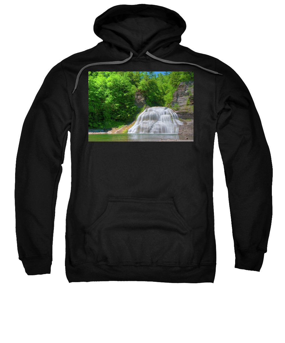 Waterfalls Sweatshirt featuring the photograph Lower Falls 0485 by Guy Whiteley